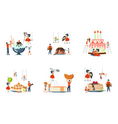 Set of oversize dish and mini people vector