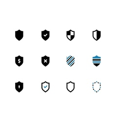 Shield duotone icons on white background vector image