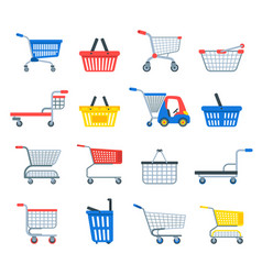 Shopping cart shop pushcart trolley shopper vector