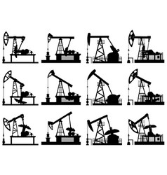 silhouettes units for oil pump vector image