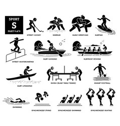 Sport games alphabet s icons pictograph street vector