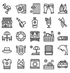 summer vacation related icon set 3 line style vector image