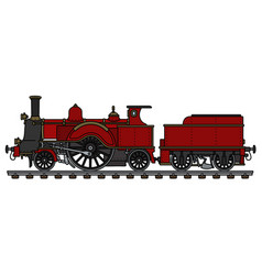 The vintage red steam locomotive vector