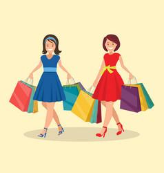 Two happy women go shopping big sale vector