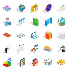 varsity icons set isometric style vector image