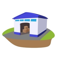 Warehouse with open door cartoon icon vector image