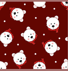 white bear with red scarf polka dot on red vector image
