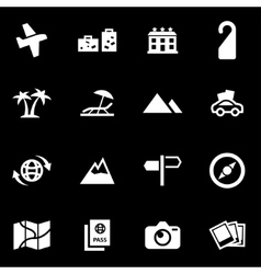 white travel icon set vector image