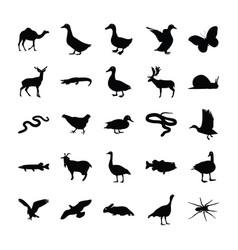 Wild animals icons set vector