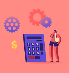 Woman character stand at huge calculator vector