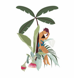 woman on swimsuit with tropical leaves palm tree vector image