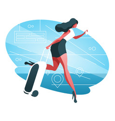 Woman with baggage vector