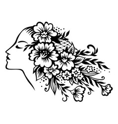 womans head in flowers vector image