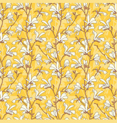 yellow floral background with branch and white vector image
