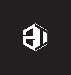 Zi logo monogram hexagon with black background vector