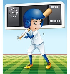 Baseball player with baseball bat in the field vector image vector image
