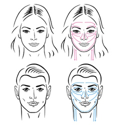 facial massaging lines for man and woman vector image