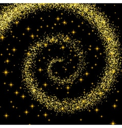 Golden Spiral Spilling Gold Dust on a Black vector image