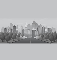 grey road to urban city vector image