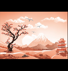 landscape of nature asia this morning vector image vector image