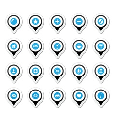 Map location markers pointers icons set vector image vector image