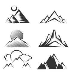 Mountains silhouettes collection vector image vector image