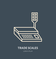 Trade scales flat line icons retail store vector