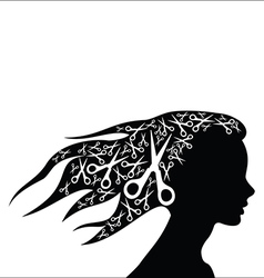 Woman hair with scissors vector image