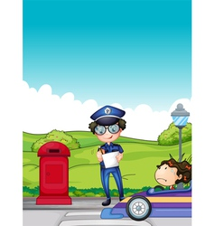 A girl caught by the traffic enforcer vector image