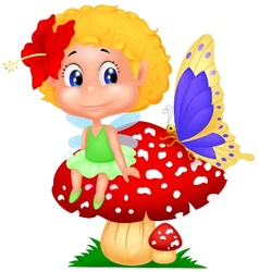 Baby fairy elf cartoon sitting on mushroom vector image vector image