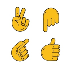 different hands cartoon style vector image