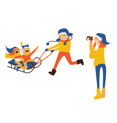 happy family with kids sledding vector image vector image