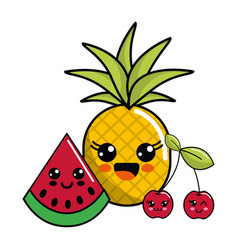 Kawaii happy pineaplle watermelon and cherry icon vector