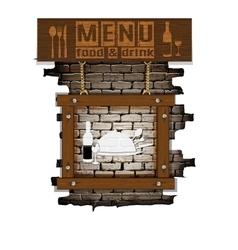menu brick wall frame wooden boards vector image vector image