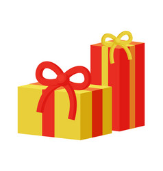 present gift boxes set decorated ribbons with bows vector image