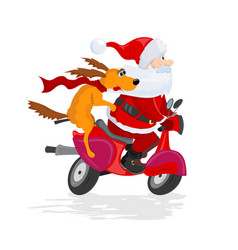 santa claus and dog ride the scooter vector image vector image