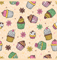 40 color cupcake seamless pattern vector image