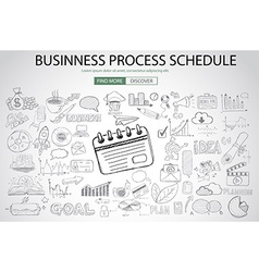 Business Process Schedule with Doodle design style vector image