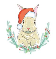 christmas rabbit in santa hat vector image