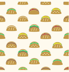 Color tortilla tacos food icons seamless pattern vector