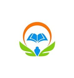 education book wing school learn logo vector image