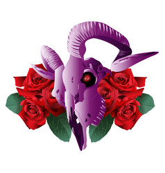goat skull modern style and roses vector image