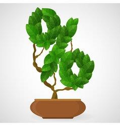 Green foliage houseplant alphabet Percent symbol vector image