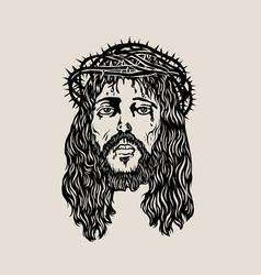 head christ sketch drawing vector image vector image