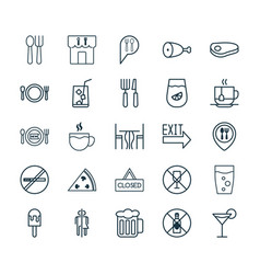 Restaurant icons set collection of alcohol forbid vector