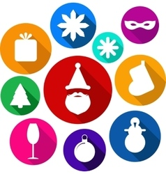 Set of bright flat xmas icons vector image vector image