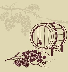 Template background for menu with a barrel of wine vector image vector image
