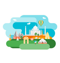 cartoon symbol of india background tourism concept vector image