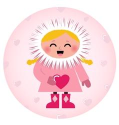 Cute Eskimo girl holding heart isolated on white vector image
