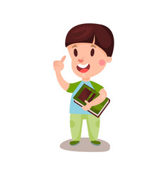 cute happy boy with brown hair standing and vector image